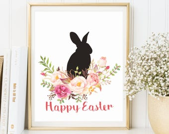Happy Easter Print, Wall Art Decor, Easter Decoration, Print Easter Art, Easter Home Decor, Easter Prints, Easter Sign, Easter Rabbit Print
