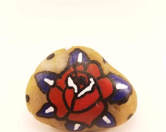 """Hand Painted """"Rose"""" On River Rock"""