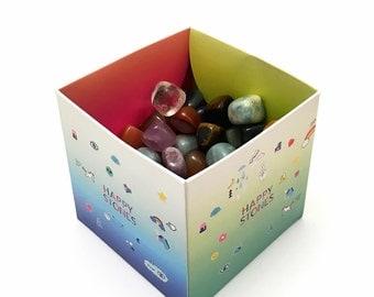 1kg happy stones tiles tumbled semi-precious stones giveaway give away healing stones of gemstones children mix