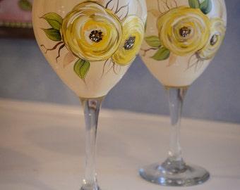 Hand Painted Golden Rose Design Glasses(2)