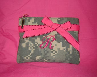 Personalized Camo ACU Military ARMY Change/Makeup Purse