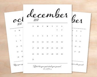DEC 2017 - A4 printable black and white calendar  - digital print calendar month - monthly calendar - printable monthly calendar - december