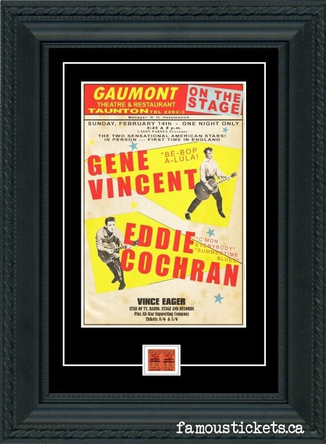 Gene Vincent & Eddie Cochran 1960 Concert POSTER TICKET