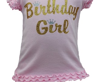 Girls Birthday Girl in Gold with Silver Crown T-shirt Pink