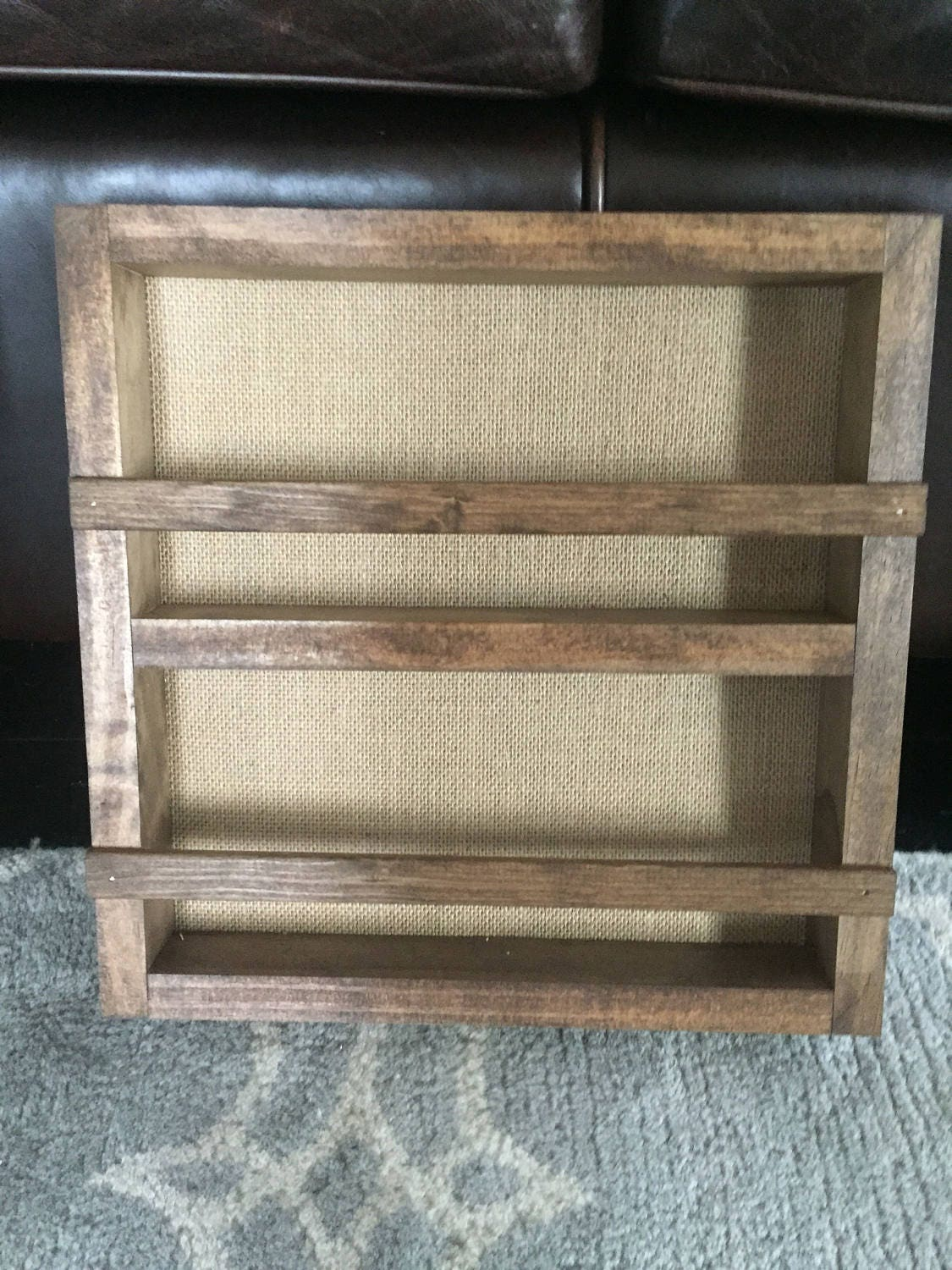 Shelves Wood Backing: Burlap And Wood Essential Oil Shelf With Cardboard Backing
