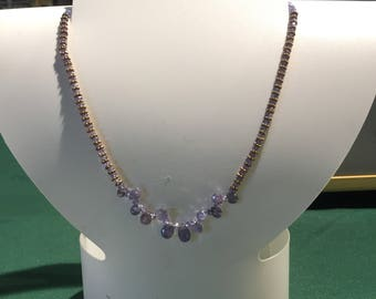 Faceted Tanzanite Sterling Silver Necklace