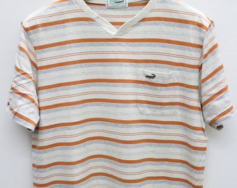 Vintage CROCODILE Orange Stripes Tee T Shirt Size L