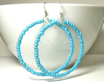 beaded hoop earrings - turquoise blue - glass beads - Large beaded hoops - boho hoop earrings - blue earrings - large blue hoops