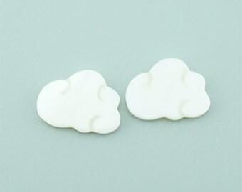 2pcs 13x18mm  Natural White Mop Shell Pendants Cloud Shell Pendants BK009