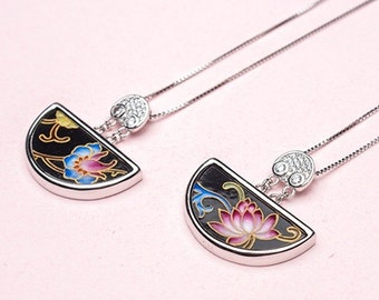 Eastern Chinese Style Handmade Half-Moon-shaped Pendant Necklace with Lotus pattern gift for her