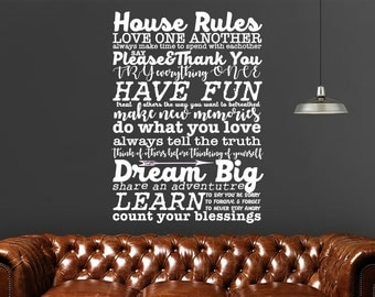 House Rules Vinyl Wall Decal Quote