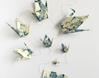 Garland to message of 7 cranes origami paper washi blue plum