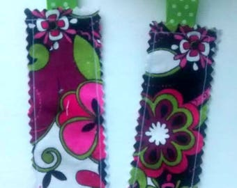 Groovy Floral Fabric Bookmark with Green Ribbon