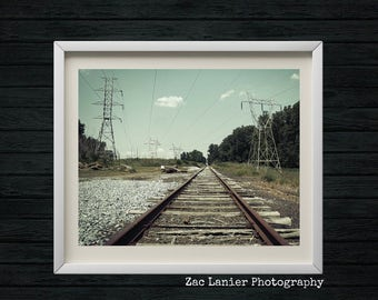 Train Tracks Photography, Locomotive Photo, Metal and Wood, Railroad Photo, Railroad Tracks, Electrical Wires, Industrial Art