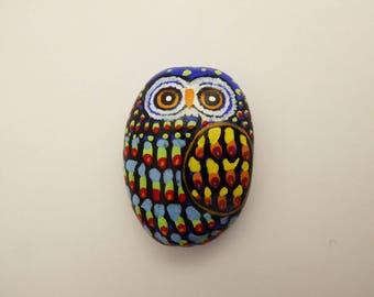 Hand painted ceramic OWL magnet.