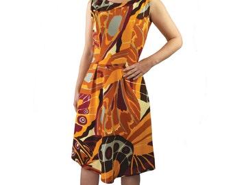 Vintage Butterfly Print A-line Dress