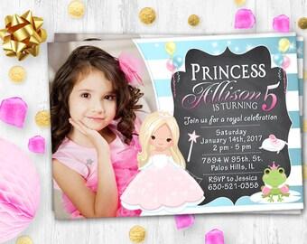 Fairy Tale birthday photo invitation Pink Princess Photo card Fairy Tale party invitation Pink Princess birthday