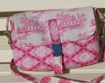 Pink willow pattern satchel bag