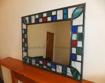 Stained glass hand made mirror