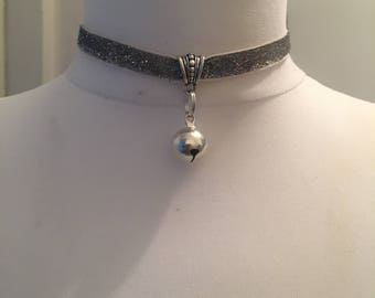 Handmade Silver Sparkle Kitty Bell Choker Necklace