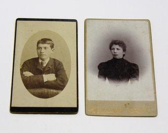 FREE SHIPPING SALE: Pair of Carte De Visite Photographs Antique Old Photos - Black and White Photo - Antique Photography