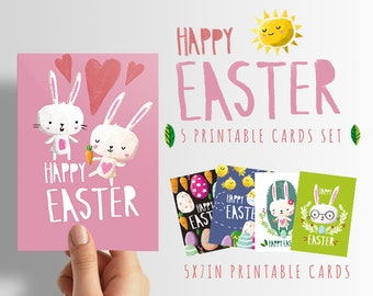 Easter clip art 5 printable cards INSTANT DOWNLOAD