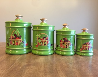 Vintage Set of 4 Aluminum Kromex Canisters, Avocado Green with Strawberries & Cherries in a Basket and a Four Leaf Clover, Retro Mod Groovy