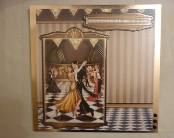 """Large 8x8"""" Art Deco card.  """"To a Wonderful couple with lots of love"""""""