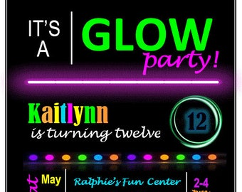 glow in the dark printable digital birthday invitation glow party black light party - Black Light Party Invitations