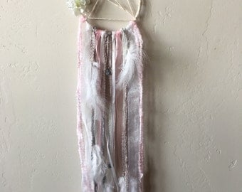 Pink and white wispy dreamcatcher