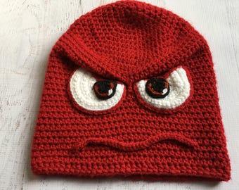 Crochet Anger Hat, Crochet Hat, Hats for Kids, Teen Hats, Character Hats, Crochet Cap, Anger Hat