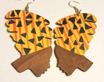Afro Headwrap Handpainted Earrings