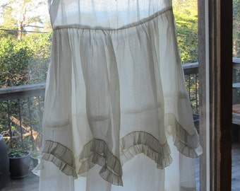 Sheer white vintage dress, tie and scarf