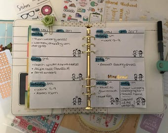 A5 Undated Weekly Calendar Inserts - Watercolour Friendship - Websters Pages/Kikki K/Filofax