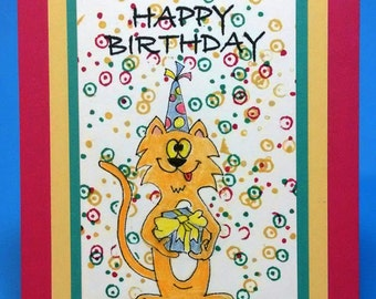 Handmade Birthday Card, Cat Birthday Card, Original Art, Silly Cat Card, Child's Birthday Card, Adult Birthday Card, Cartoon Cat Card