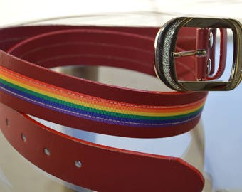 RAINBOW LEATHER BELT, pride rainbow, lgbt pride,