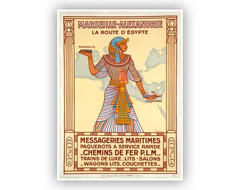 Travel Poster, Marseille to Alexandria, Vintage Style Fine Art Print, Egyptian Themed Artwork, French Tourism, Multiple Sizes Available