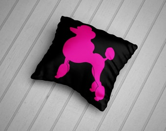 Pink Show Poodle. 45cm Cushion Cover. Hand Made in the UK.