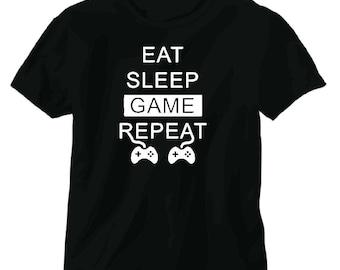 Eat Sleep Game Repeat Tee shirt gaming xbox ps