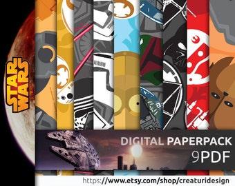OFFER 90% Off SALE Star Wars Digital Paper Pack --- EP7