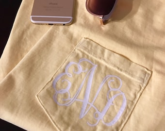 Monogram Comfort Colors Pocket Tee