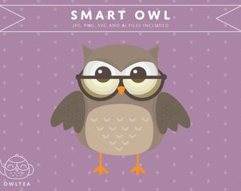 Smart Owl With Glasses Digital Clipart jpg png svg ai