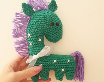Pippa the Pony  Pippa is crocheted with white 100% cotton yarn with safety pin eyes 15cm tall