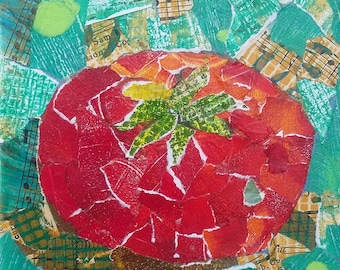 Tomatoe - Torn Paper Collage 5x5
