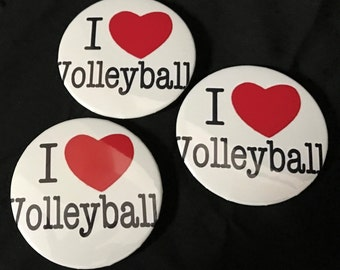 "3"" I Love Volleyball buttons"