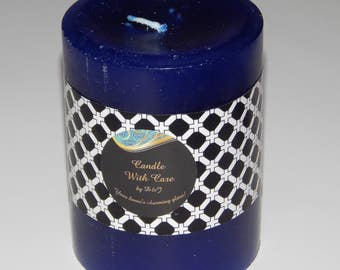 "Scented Candle, Blue Scented Pillar Candle - 4"" height Men's Polo Scent (Temporarily Available)"