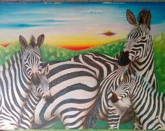 Art Work 5 Zebras.
