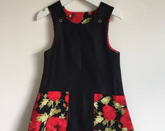 Little black dress - girls party dress - red poppy dress - handmade dress -girls outfit - girls pinafore - made to order - bespoke outfit.