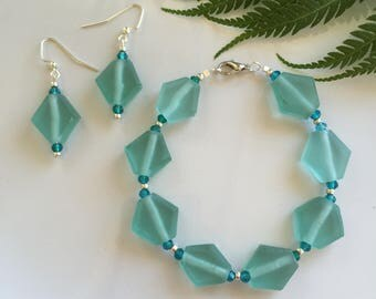 Blue and Silver Recycled Glass Bracelet and Earring Set Handmade Jewelry Set