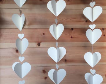 Ivory 3D heart garland, Decor, Weddings, Parties, Celebrations,